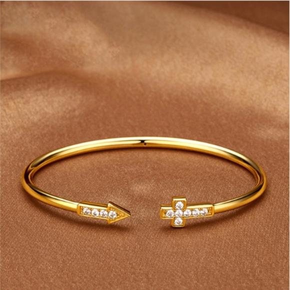 e6248aa2619 Jewelry | Crystal Cross Arrow Gold Open Cuff Bangle | Poshmark